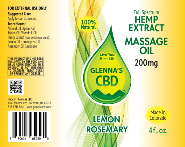 200mg Massage Oil Lemon Rosemary 600x475 - Restorative Massage Oil - Lemon Rosemary 200mg - Full Spectrum